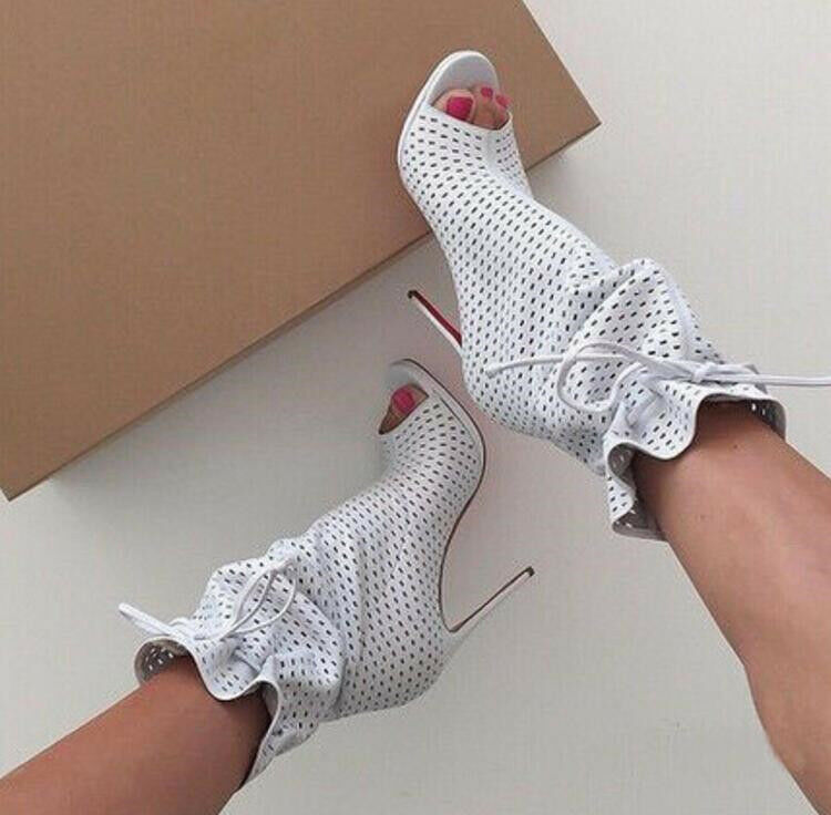 Women Gladiator Peep Toe High Heels Gladiator Ankle Boots Stilettos Lace Up shoes