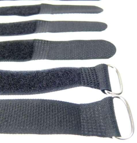 10x Kabelklettband 20cm x 20mm schwarz Klettband Klett Kabel Binder Band mit Öse