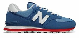 New-Balance-Men-039-s-574-Shoes-Blue-with-Red