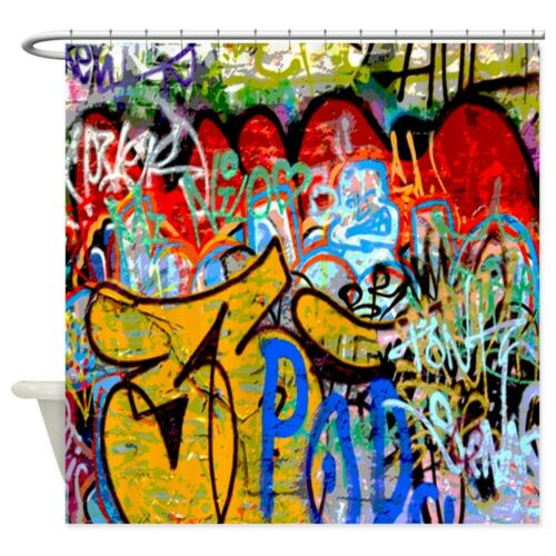 673573688 CafePress Colorful Graffiti Urban Art Shower Curtain