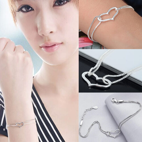 New Silver Plated Heart Love Bracelet Silver Chain Lady Women Jewelry Gift 1PC