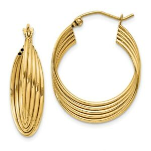 Details About Real 14kt Yellow Gold Lightweight Fancy Hoop Earrings