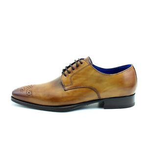 f02d32696 Men DERBY BROGUE oxfords elegant brown leather shoes Italian GIORGIO ...