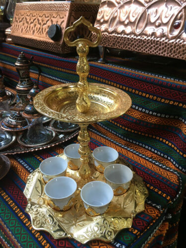 Copper Turkish Coffee Espresso Serving Set Authentic Coffee Cup Tray with handle