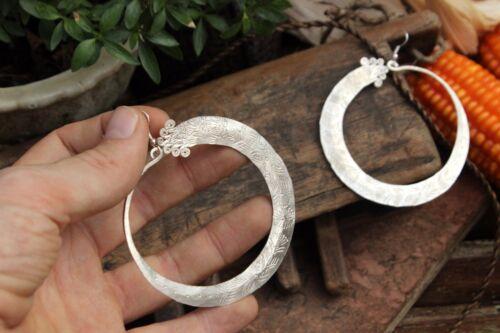 Handmade Earrings Ethnic Hmong tribal FAIR TRADE hippy boho dangly hoop big loop