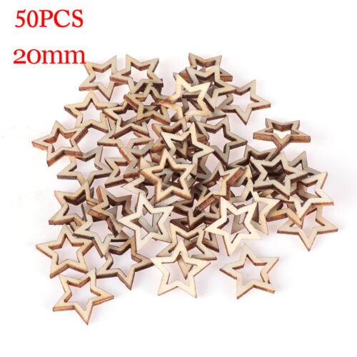 Supplies Natural Wood Hollow Wooden Crafts Star Shape Ornament Embellishment