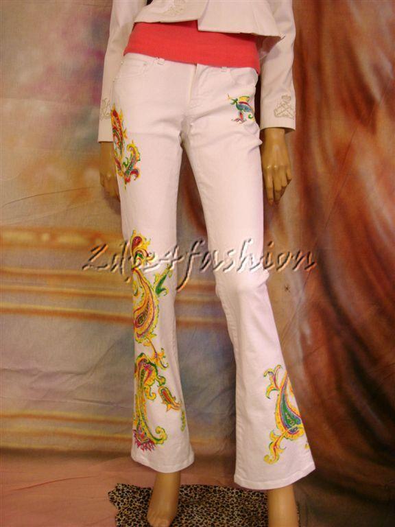 1298 New RALPH LAUREN Painted Paisley White Low Rise Denim Cotton Jeans 31
