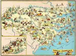image relating to Printable Map of North Carolina known as Info regarding Canvas Duplicate Pictorial Map of North Carolina Print Ruth Taylor 1935