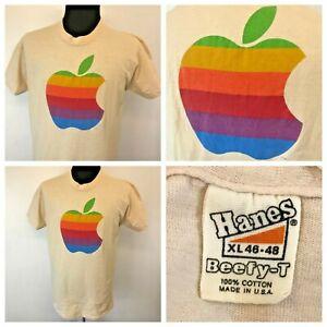 Vintage 70s 80s Apple Computer T Shirt size XL Original Logo Hanes MINT USA S1