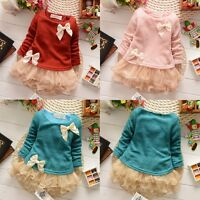 Cute Toddlers Kids Baby Girls Knit Top Lace Bow Princess Tutu Tulle Dress 0-3Y