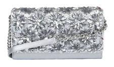 36b6e439ac1d Michael Kors Floral Burst Silver Sequin Evening Bag Clutch Crossbody Wallet  H2