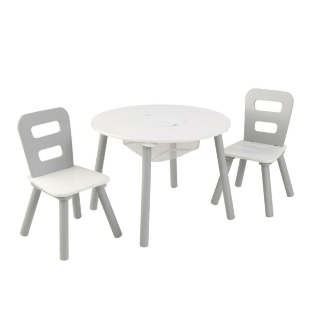 Cool Kids Round Storage Table 2 Chair Set Gray White By Kidkraft Andrewgaddart Wooden Chair Designs For Living Room Andrewgaddartcom