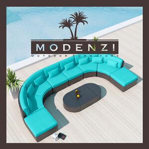 MODENZI 11C Modern Patio Wicker Set Outdoor Sectional Sofa