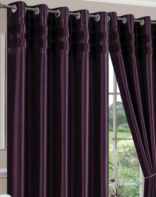 Ring Top Eyelet Lined Curtains Denver Aubergine Choice of Sizes
