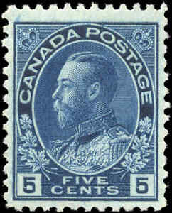 Mint-H-Canada-5c-1914-F-VF-Scott-111-King-George-V-Admiral-Issue-Stamp