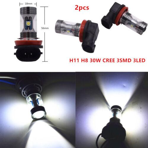 2* H8 H11 6000K 30W CREE 3SMD LED Fog Driving Light Canbus Lamp Bulb White Motor