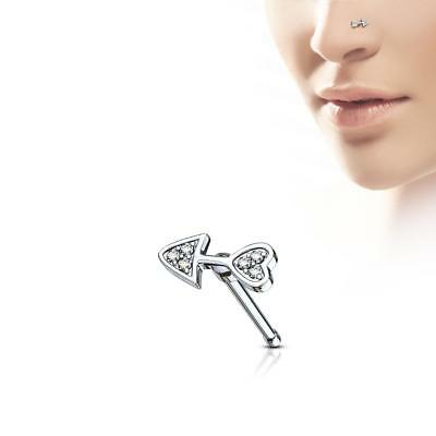 316L Surgical Steel Nose Bone Stud Ring with Silver IP Tribal Wings Top