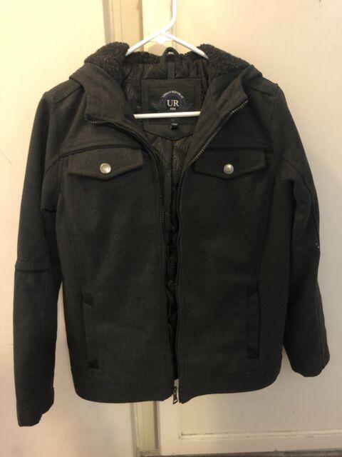 Medium 10//12   UR-3 Urban Republic Boy/'s Novelty Varsity Leather Hooded Jacket