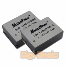 BATTERY x 2 for CANON NB-10L PowerShot G15 G16 G1 X SX40 HS Camera TWO BATTERIES