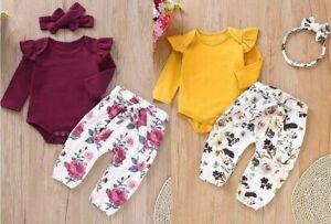 Toddler-Baby-Girls-Long-Sleeves-Solid-Romper-Tops-Floral-Pants-Headbands-Set