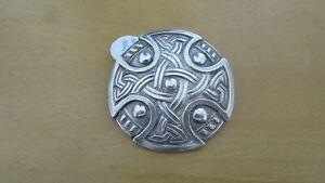 Superb-Large-Antique-Sterling-Silver-Scottish-Celtic-Brooch-pin-29grm