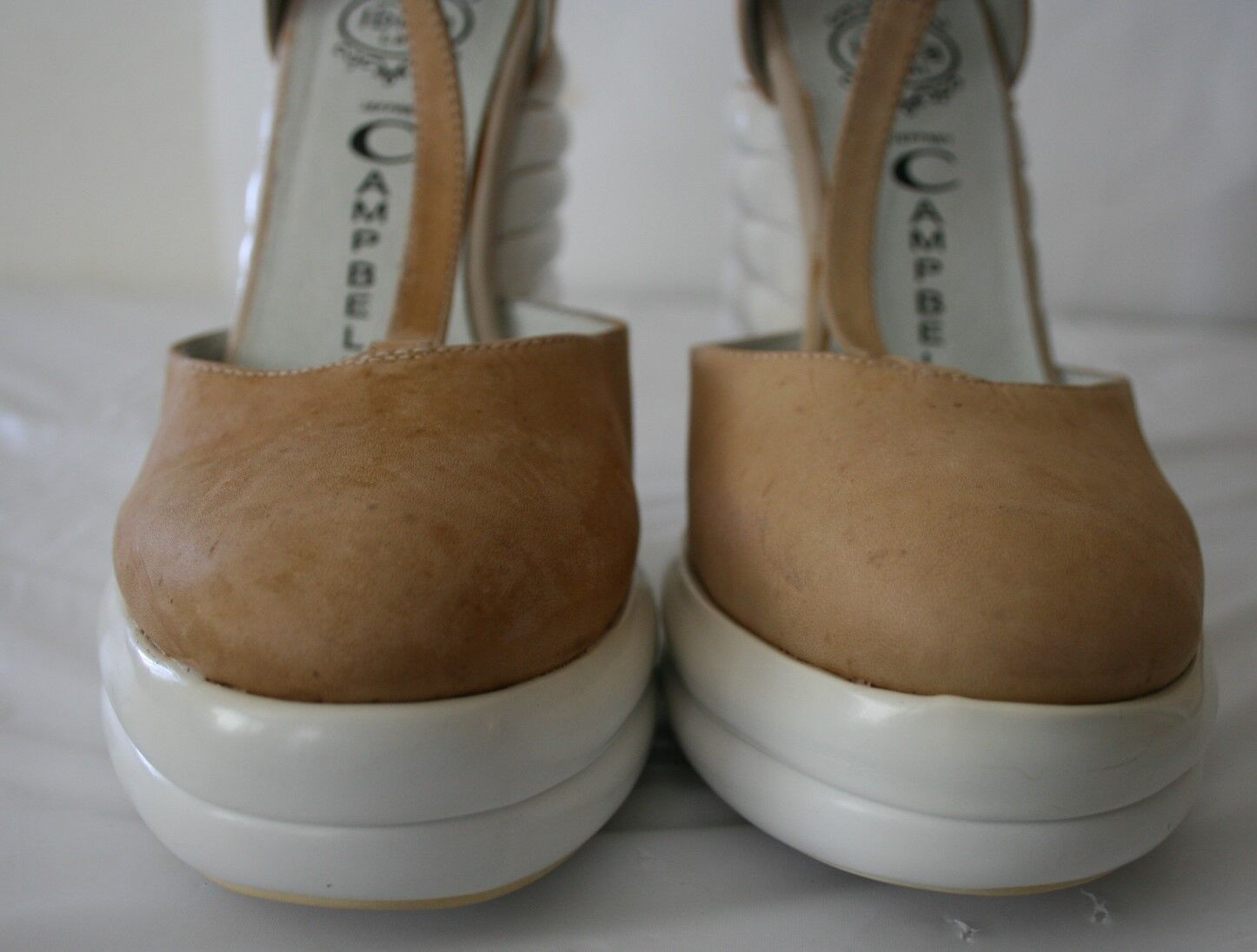 JEFFREY CAMPBELL SHOES SOUS PLATFORM WEDGES T-STRAP HEELS TAN LEATHER LEATHER LEATHER 8.5  160 ad7f1a