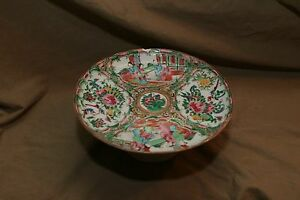 Antique Oriental Export China Chinese Rose Medallion Pedestal Porcelain As Is