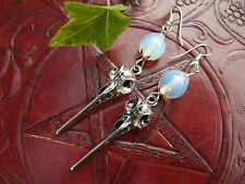 Skull & Moonstone 925 Sterling Silver Earrings  Witchcraft Wicca Pagan Witch