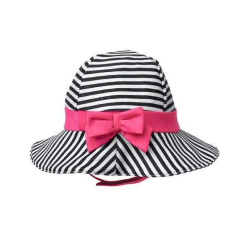 NWT Gymboree Baby Buddies Girl Striped Black White Pink Bow Sun Hat