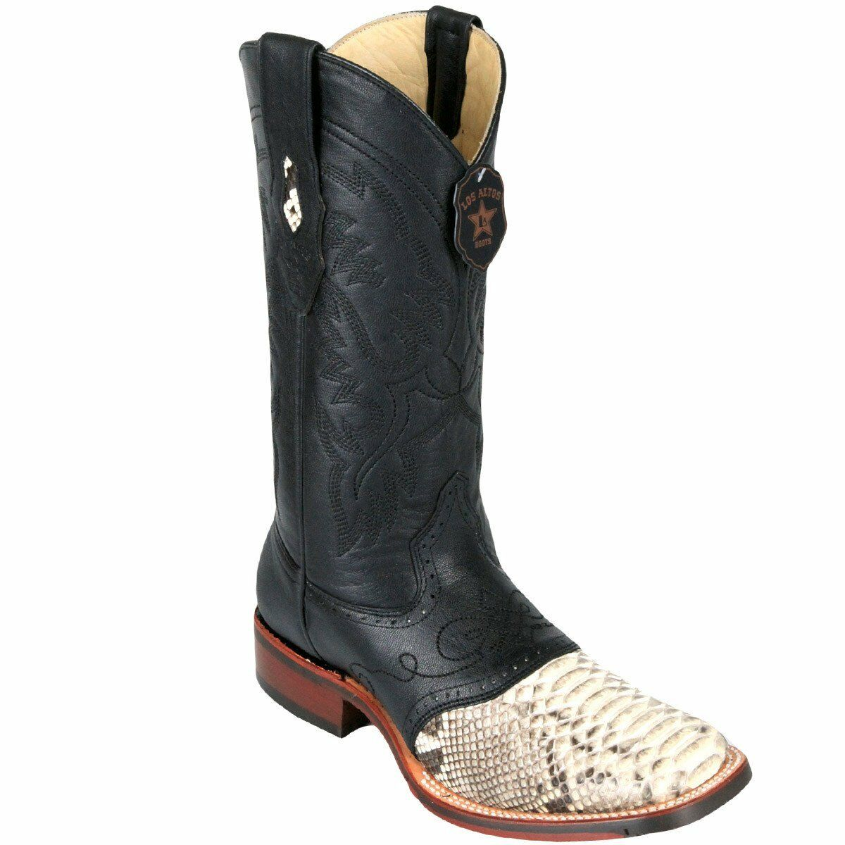 Los Altos NATURAL Rubber Python Square Toe TPU Rubber NATURAL Sole Western Cowboy Boot EE 0139a1