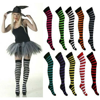 Pink Black Stripe Over Knee Socks Stripy Striped Ladies