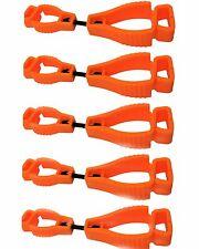 AT01-5O 5Pc Orange Glove Grabber Clip Holder Guard Work Safety Clip Glove Keeper