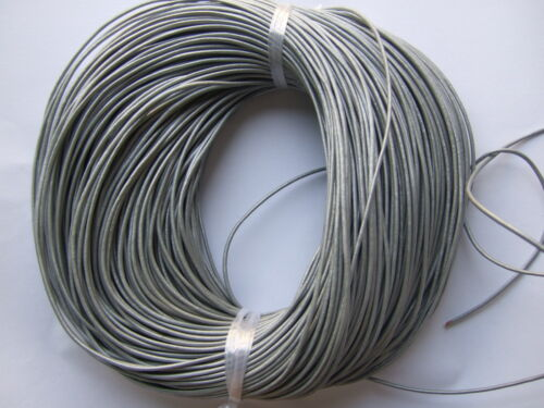 100/% Real 2mm Round Metallic Silver Leather Cord String Lace Thong Jewellery