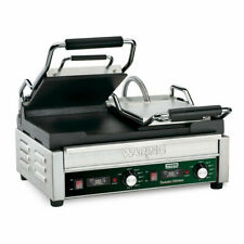 Waring Wfg300t Double Commercial Panini Press With Cast Iron Smooth Plates 240v1