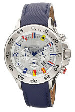 Nautica Men Chrono 100m Stainless Steel Blue Resin Coated Leather Watch N16530G