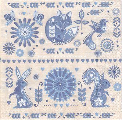 2 serviettes en papier Animaux Renard Lapin bleu Paper Napkins Design in blue