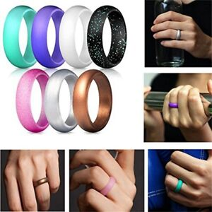 7 Set Silicone Wedding Ring Rubber Band Women Men Sport Outdoor
