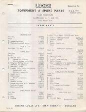 Bond Minicar Mk F 250G & Bond Ranger Van Lucas Equipment & Spare Parts List 1961