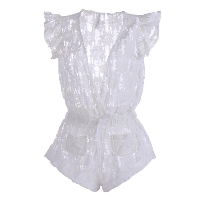 Hot Women Sexy Swimwear Bikini Cover Up Beach Dress Lace Hollow Jumpsuits White