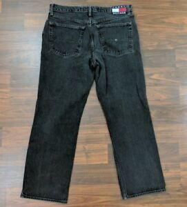 VTG-Tommy-Hilfiger-Jeans-Big-Logo-Mens-Jeans-Straight-Leg-Black-Denim-36-x-32