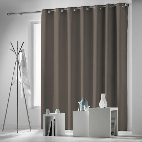 Occult Plain Blackout Eyelet Single Curtain Panel Extra Wide and Extra Long