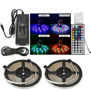 32-8Ft-10M-3528-RGB-TIRA-FLEXIBLE-600-SMD-LED-luz-Control-Remoto-Infrarrojo-44-Teclas-potencia-12V