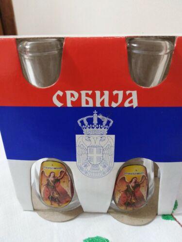 Deux traditionnelle Tasse Verres pour serbe rakija čokanj serbe Slava 2 types