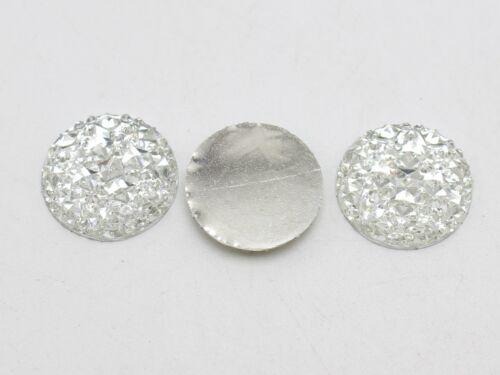 50 Clear Flatback Resin Round Cabochon Gems Pyramid Dotted Rhinestone 18mm