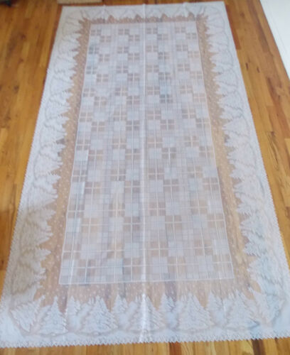 HERITAGE LACE IVORY CHRISTMAS TREES TABLECLOTH 60W BY 84L ITEM 5015