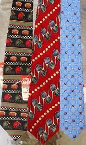 J. Khaki etc. LOT 3 Men Sport Themed Neckties Silk NWT (LOT 2428)