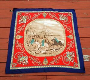 The-Art-of-the-Scarf-Tie-Rack-Navy-Blue-RED-Horses-amp-Chariots-35-034-BY-35-034-Sq-Italy