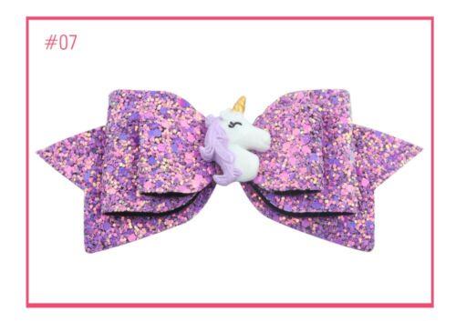5inch Big Unicorn Hair Bows for Party Glitter Rainbow Hair Bows Hair Clip For Gi