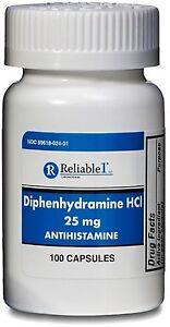 Reliable 1 Diphenhydramine HCI 25mg Antihistamine 100 ea