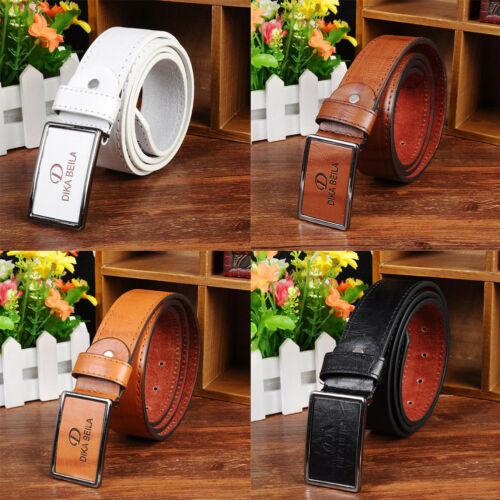 Men/'s Casual Waistband Faux Leather Automatic Buckle Belt Waist Strap Fashion